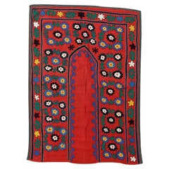 3x6.4 Ft Asian Suzani Textile, Embroidered Cotton & Silk Bed Cover, Wall Hanging