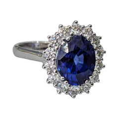 4 1/2 Carat 14 Karat White Gold Oval Sapphire Vintage Style Engagement Ring