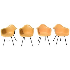4 Early Eames Fiberglass Bucket Arms Chairs