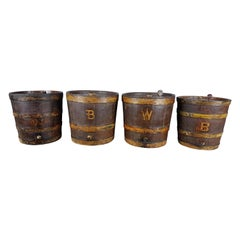 4 19th Century Oak Barrels in Original Paint