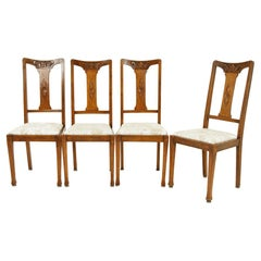 4 Antique Arts & Crafts Carved Oak Dining Chairs, Scotland 1910, B2547