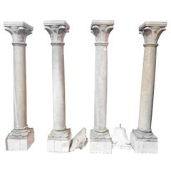 4 Antique Botticino Stone Columns, Bases and Sculpted Capitals, 1700, Italy