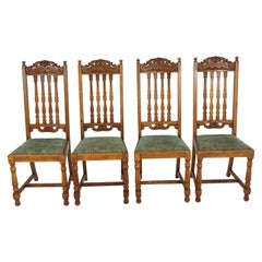 4 Antique Carved Oak Dining Chairs, High Back Kitchen Chair, Scotland 1920 B2346