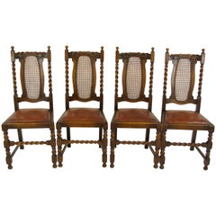 4 Antique Dining Chairs, Barley Twist Chairs, Oak Dining Chairs, 1920