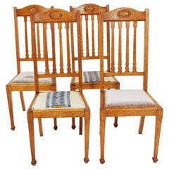 4 Antique Dining Chairs, Oak Arts & Crafts Chairs, Scotland 1910, B2379