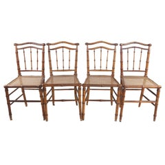 4 Antique Faux Bamboo Chairs
