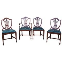 4 Antique Mahogany Sheraton Style Hepplewhite Shield Back Side Dining Chairs