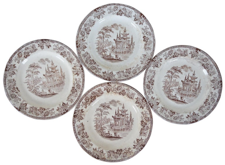 Set of four William Brownfield ironstone brown transferware plates in the Madras pattern. Measure: 8