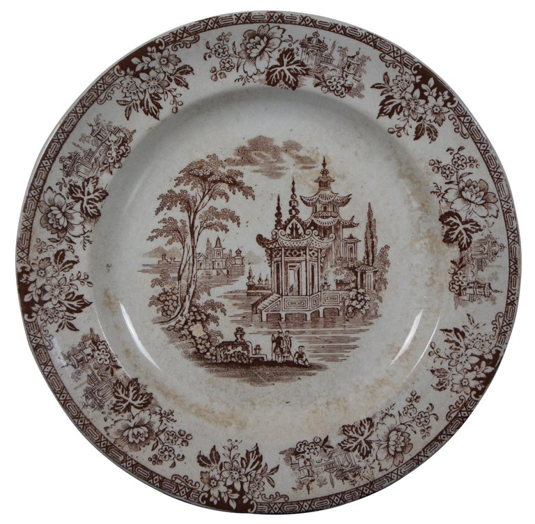 British Colonial 4 Antique William Brownfield Madras Ironstone Brown Transferware Plates For Sale