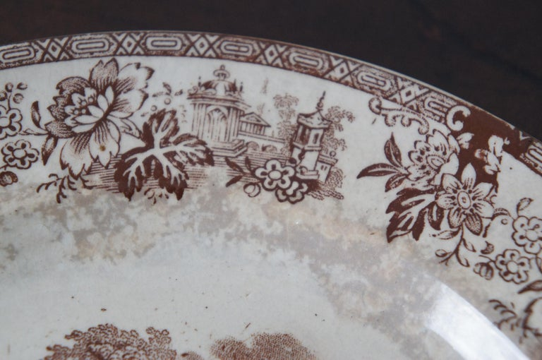 4 Antique William Brownfield Madras Ironstone Brown Transferware Plates For Sale 1