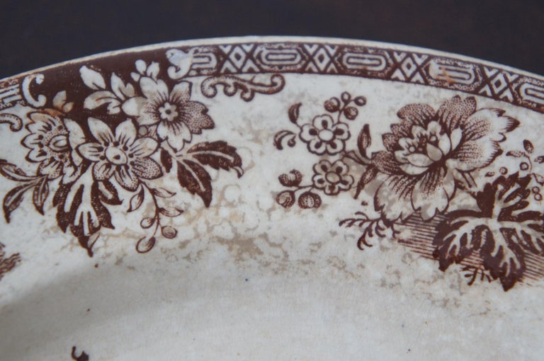 4 Antique William Brownfield Madras Ironstone Brown Transferware Plates For Sale 2