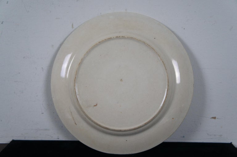 4 Antique William Brownfield Madras Ironstone Brown Transferware Plates For Sale 3
