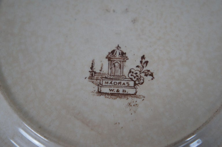 4 Antique William Brownfield Madras Ironstone Brown Transferware Plates For Sale 4