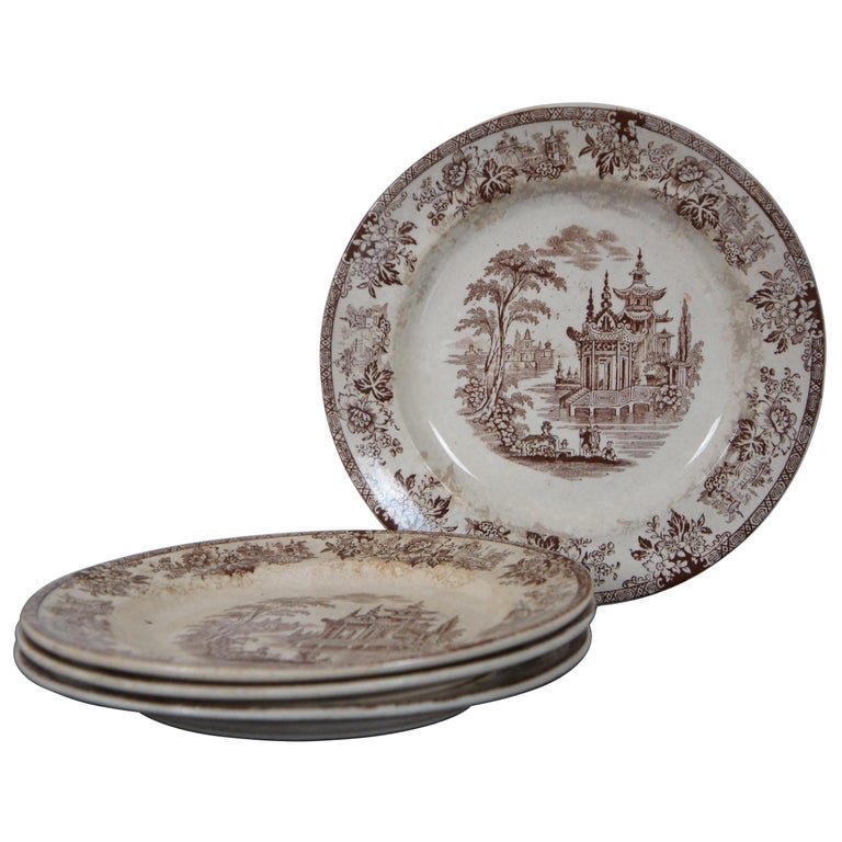4 Antique William Brownfield Madras Ironstone Brown Transferware Plates For Sale