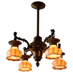 4-Arm Arts and Crafts Chandelier with 4 Steuben Art Glass Shades, circa 1910
