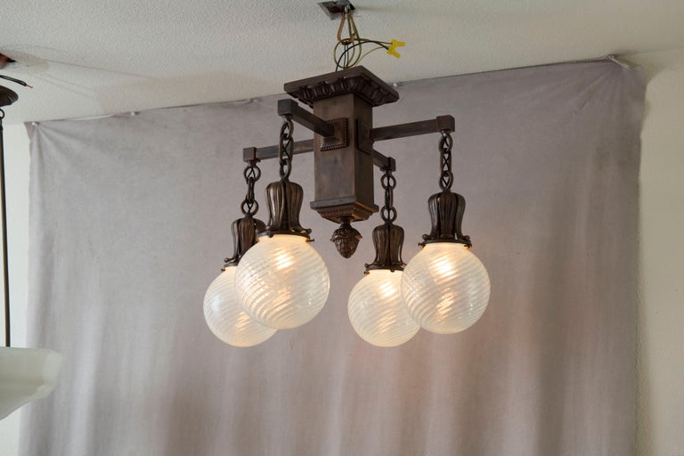 American 4 Arm Arts & Crafts Flush Mount Chandelier w/ 4 Hand Blown Glass Shades ca. 1910 For Sale