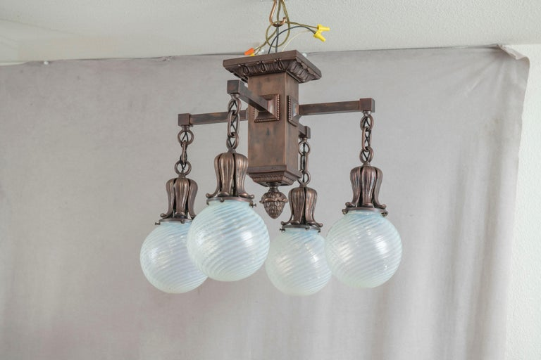 4 Arm Arts & Crafts Flush Mount Chandelier w/ 4 Hand Blown Glass Shades ca. 1910 In Good Condition For Sale In Petaluma, CA