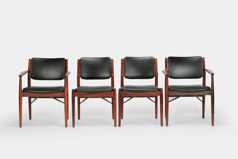 Mid-Century Modern 4 Arne Vodder Chairs Sibast, 1960s For Sale