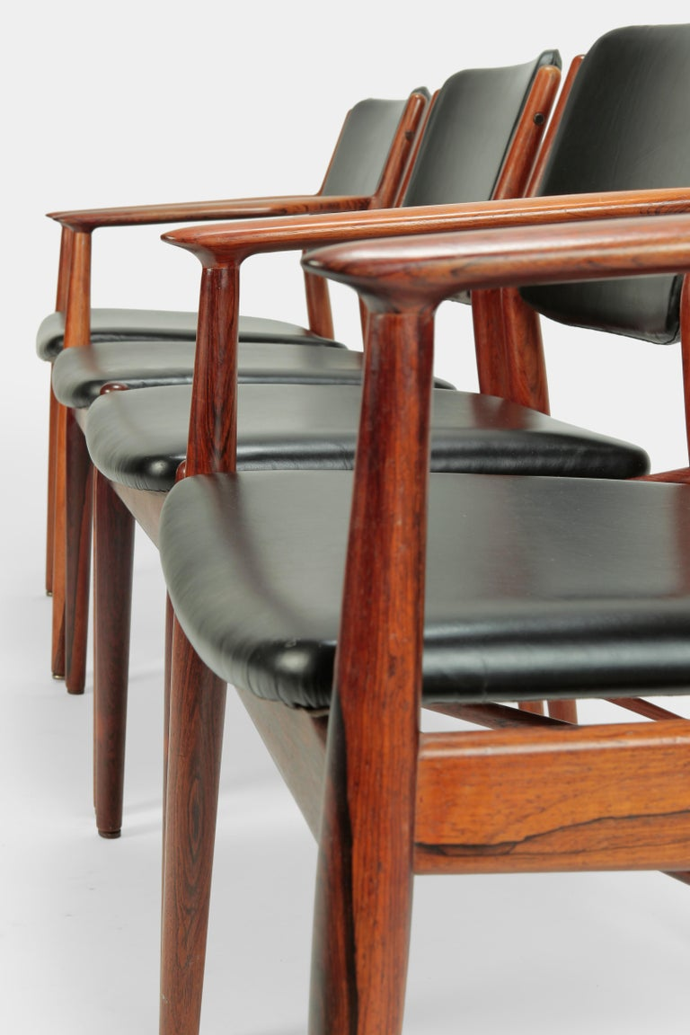 Leather 4 Arne Vodder Chairs Sibast, 1960s For Sale