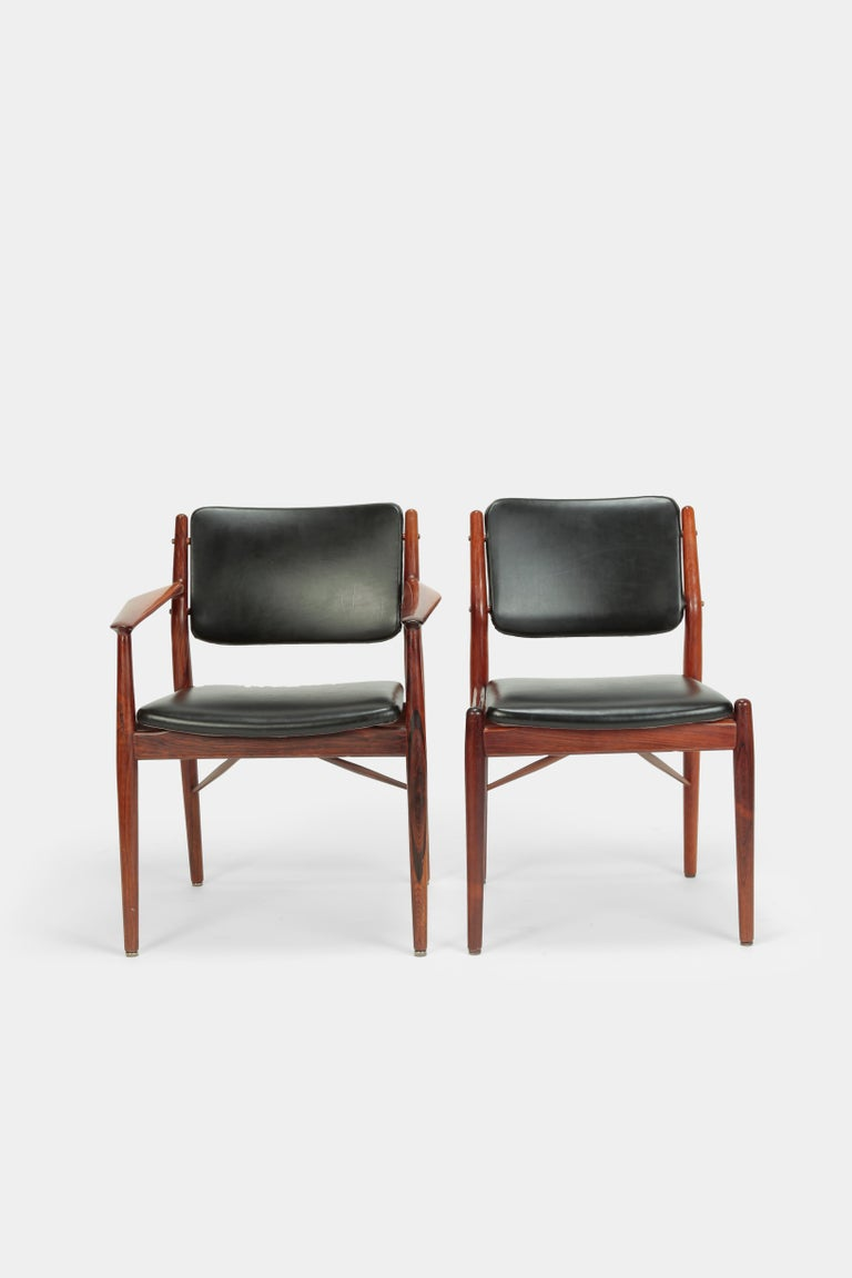 4 Arne Vodder Chairs Sibast, 1960s For Sale 2