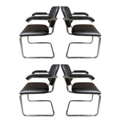 4 Authentic Midcentury Cesca Chairs by Marcel Breuer for Knoll