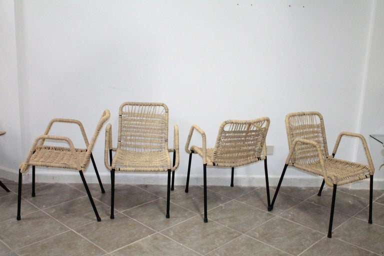 4 'Bauhaus style' stackable dining chairs with rope weaving seat & back, 1970s