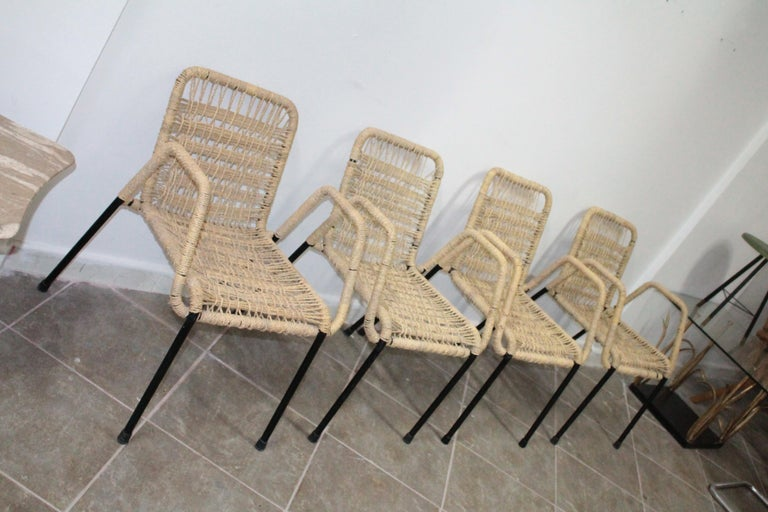 Mid-Century Modern 4 'Bauhaus Style' Dining Chairs with Rope Weaving Seat & Back, 1970s For Sale