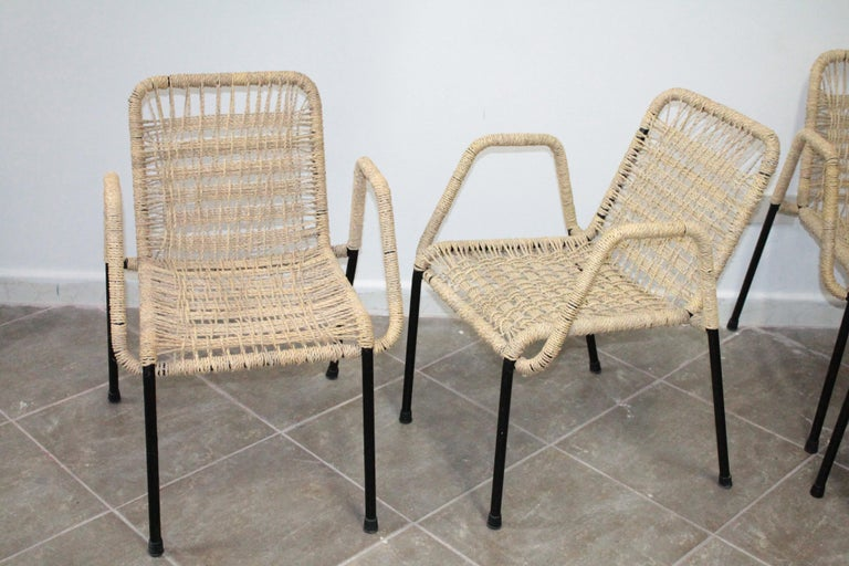 Italian 4 'Bauhaus Style' Dining Chairs with Rope Weaving Seat & Back, 1970s For Sale