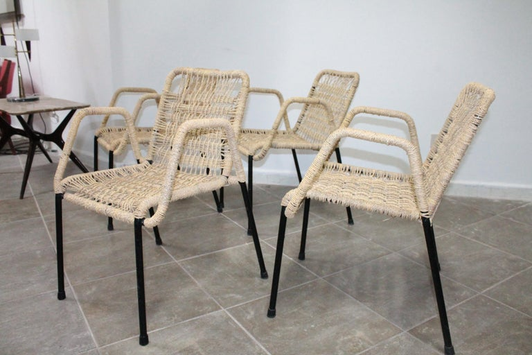 4 'Bauhaus Style' Dining Chairs with Rope Weaving Seat & Back, 1970s In Good Condition For Sale In Palermo, Palermo