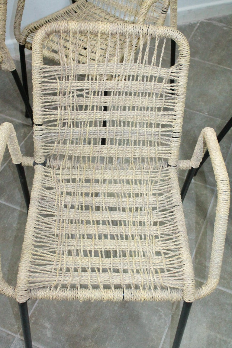Late 20th Century 4 'Bauhaus Style' Dining Chairs with Rope Weaving Seat & Back, 1970s For Sale