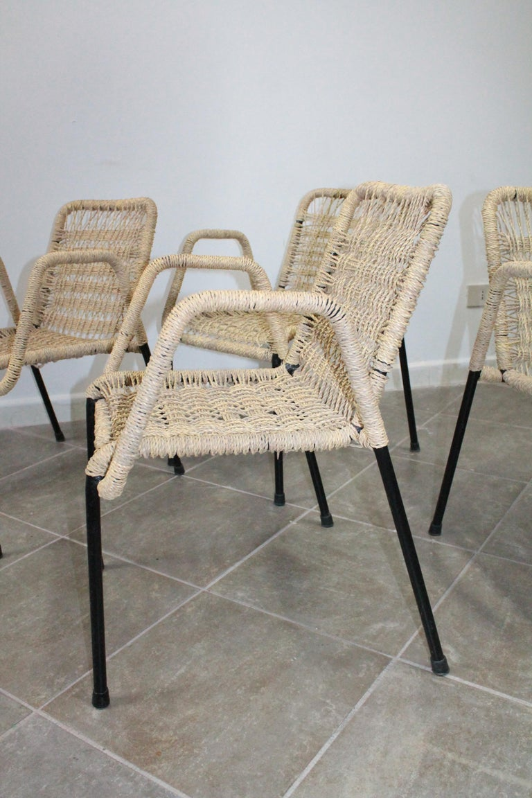 4 'Bauhaus Style' Dining Chairs with Rope Weaving Seat & Back, 1970s For Sale 1