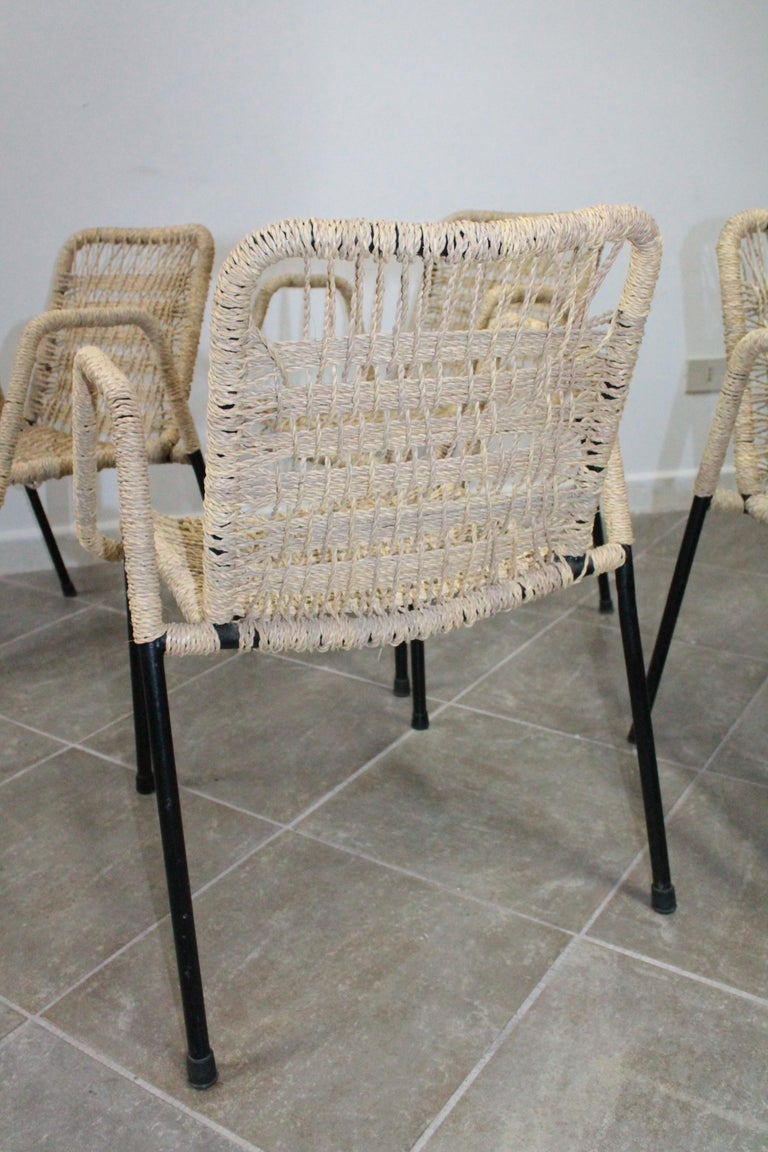 4 'Bauhaus Style' Dining Chairs with Rope Weaving Seat & Back, 1970s For Sale 2