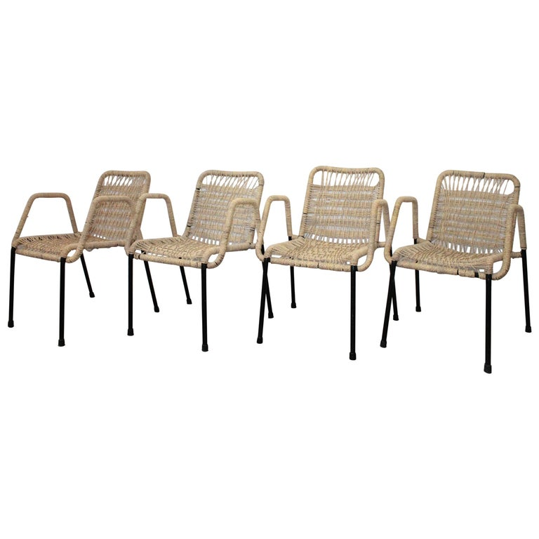 4 'Bauhaus Style' Dining Chairs with Rope Weaving Seat & Back, 1970s For Sale