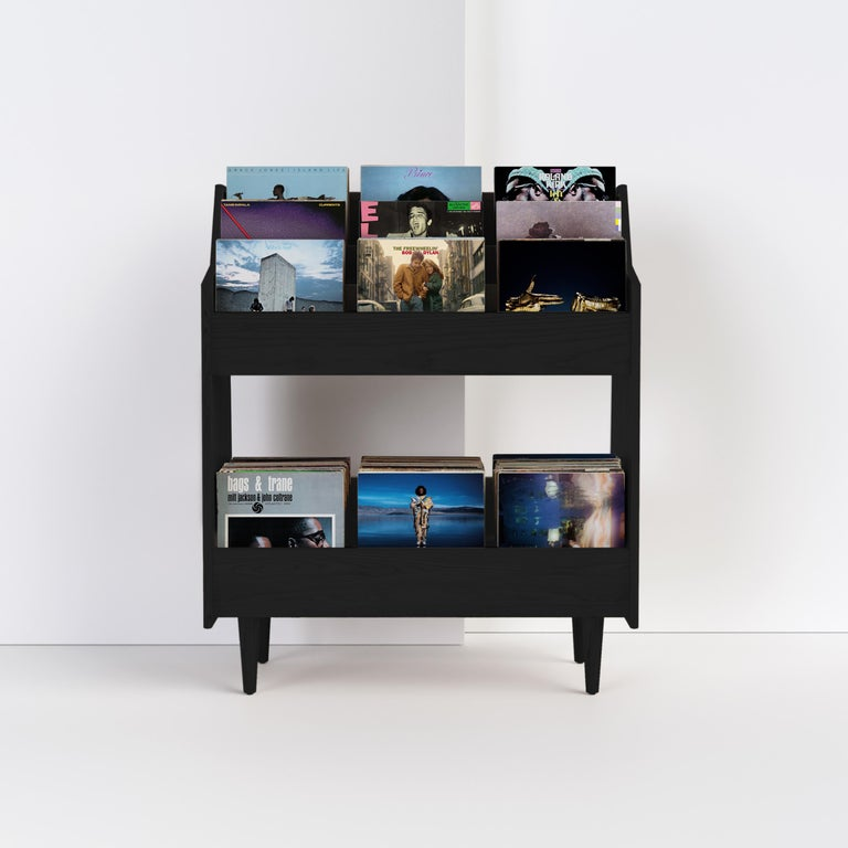 4 Bay Luxe Record Stand in Natural Walnut For Sale 4