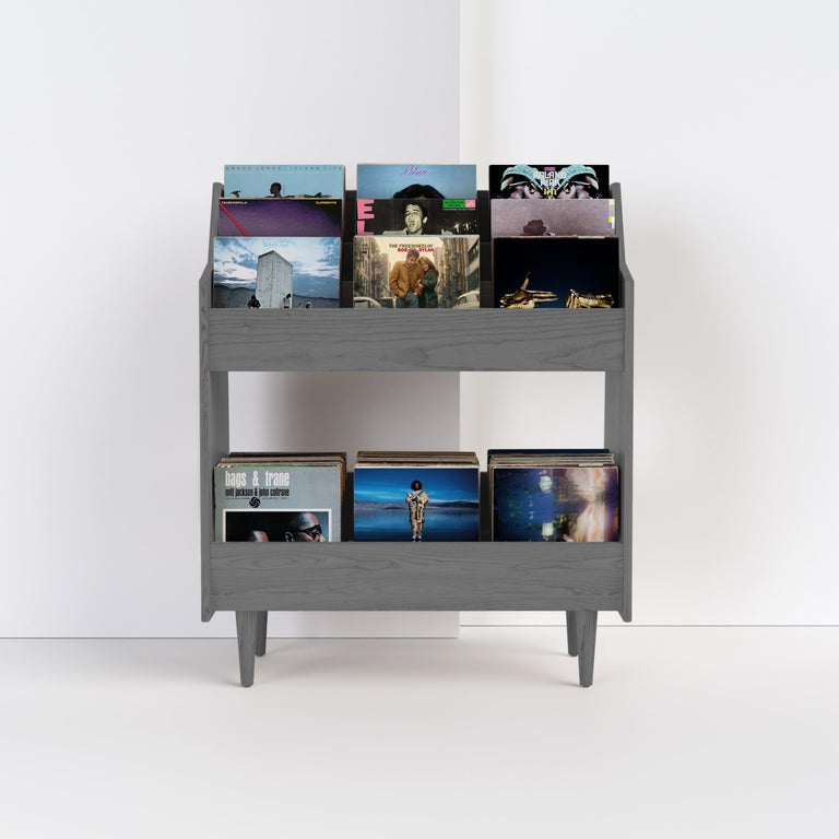 4 Bay Luxe Record Stand in Natural Walnut For Sale 6
