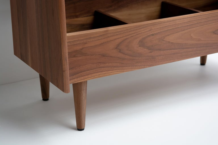 Modern 4 Bay Luxe Record Stand in Natural Walnut For Sale