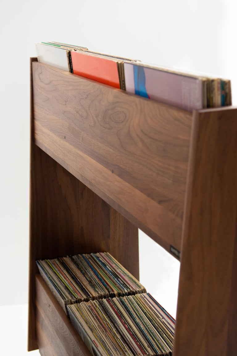 American 4 Bay Luxe Record Stand in Natural Walnut For Sale