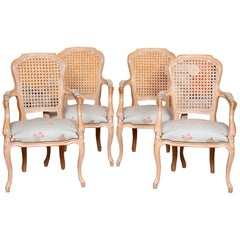 4 Bergère Chairs Armchairs Carved Limed Oak Elbow Continental Tub Chairs