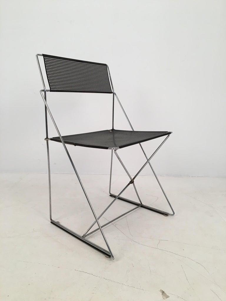 Post-Modern 4 Black Stacking X-Line Chairs by N. J. Haugesen for Hybodan, Denmark circa 1970 For Sale