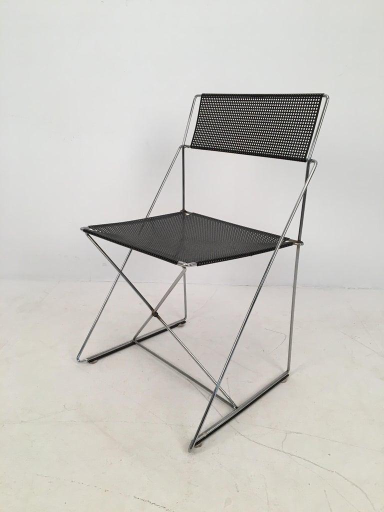 Danish 4 Black Stacking X-Line Chairs by N. J. Haugesen for Hybodan, Denmark circa 1970 For Sale