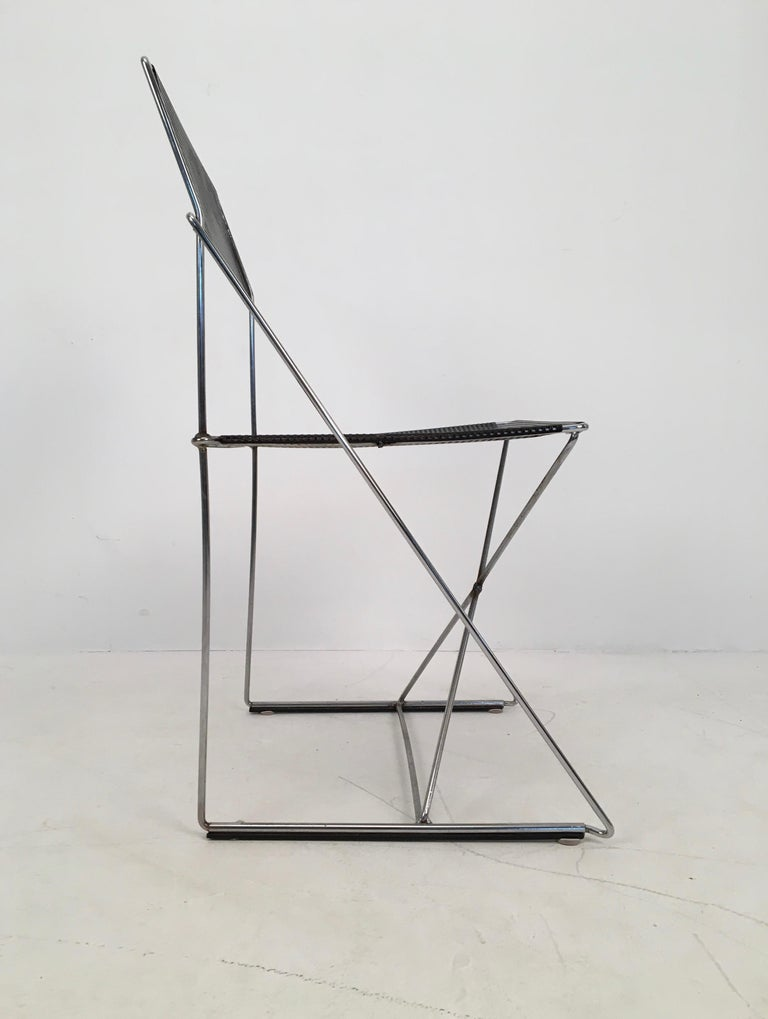 Plated 4 Black Stacking X-Line Chairs by N. J. Haugesen for Hybodan, Denmark circa 1970 For Sale