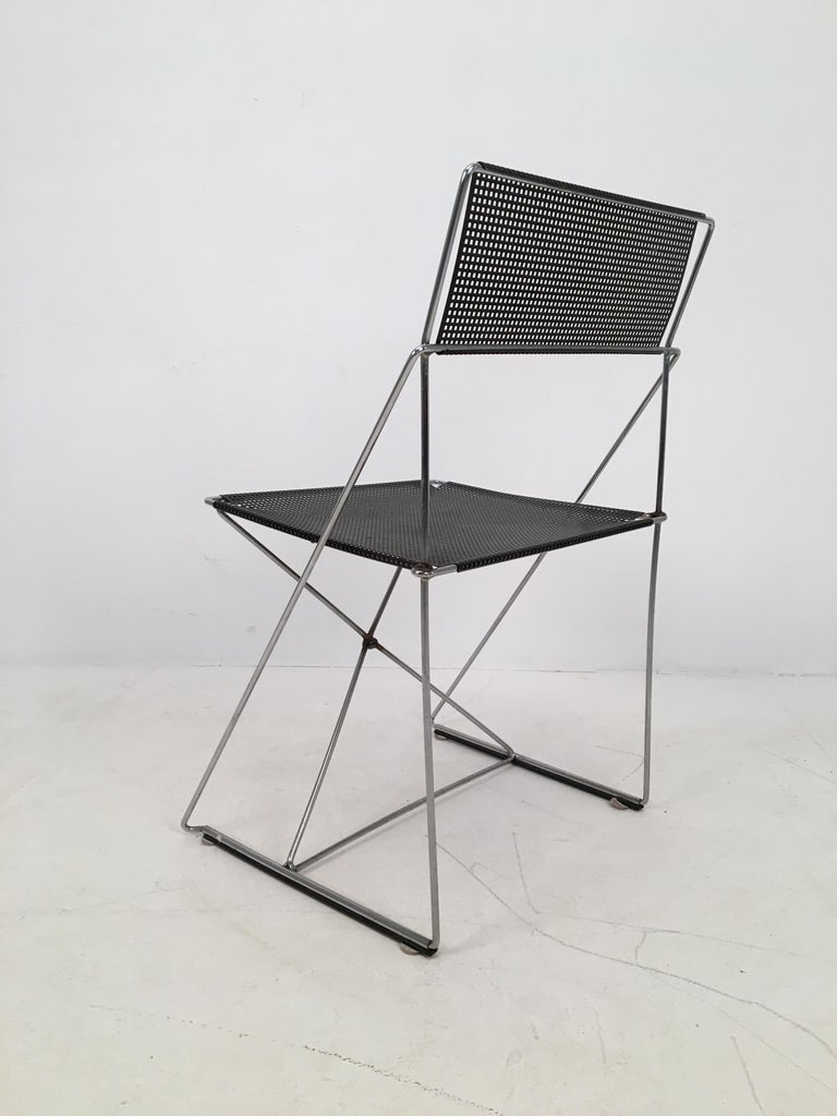 4 Black Stacking X-Line Chairs by N. J. Haugesen for Hybodan, Denmark circa 1970 In Fair Condition For Sale In London, GB