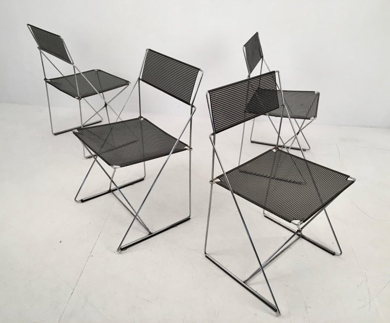 Late 20th Century 4 Black Stacking X-Line Chairs by N. J. Haugesen for Hybodan, Denmark circa 1970 For Sale