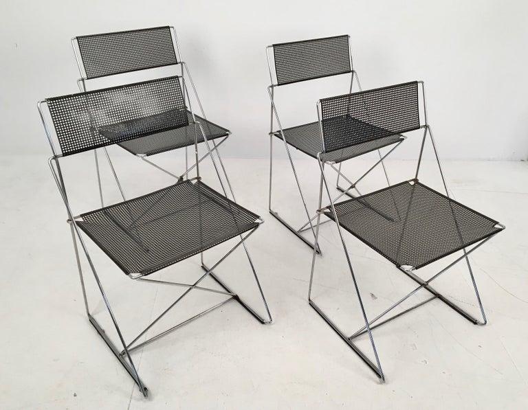 Chrome 4 Black Stacking X-Line Chairs by N. J. Haugesen for Hybodan, Denmark circa 1970 For Sale