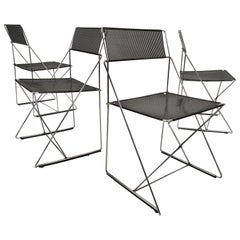 4 Black Stacking X-Line Chairs by N. J. Haugesen for Hybodan, Denmark circa 1970