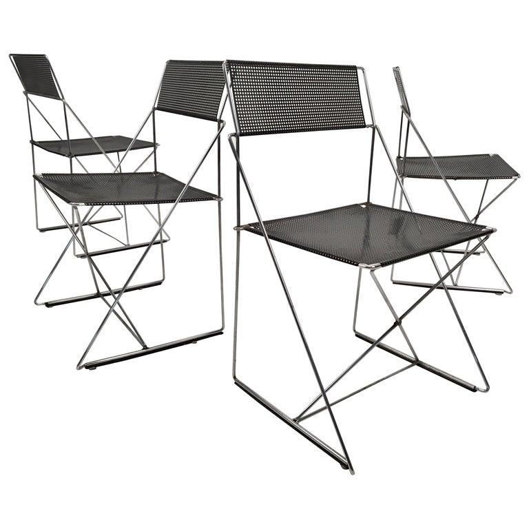 4 Black Stacking X-Line Chairs by N. J. Haugesen for Hybodan, Denmark circa 1970 For Sale