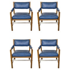 4 Blue Leather, Wood and Stainless Steel Ed Wormley for Dunbar Chairs