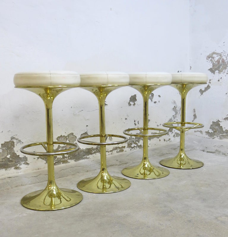 4 Börje Johansson Gilded Brass and Leather Bar Stools by Johansson Design, 1960s 2