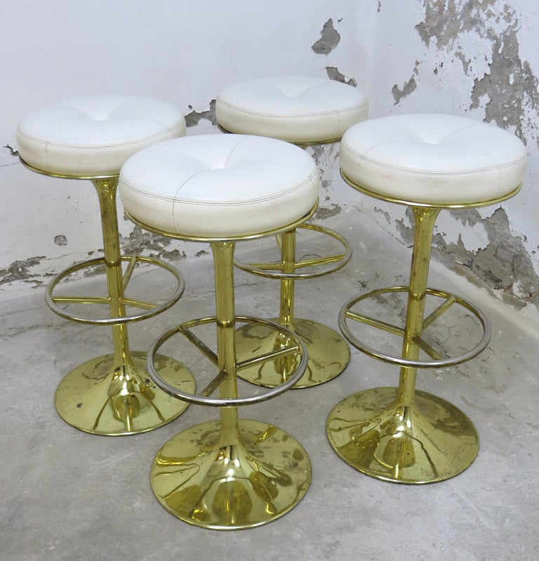 4 Börje Johansson Gilded Brass and Leather Bar Stools by Johansson Design, 1960s 3