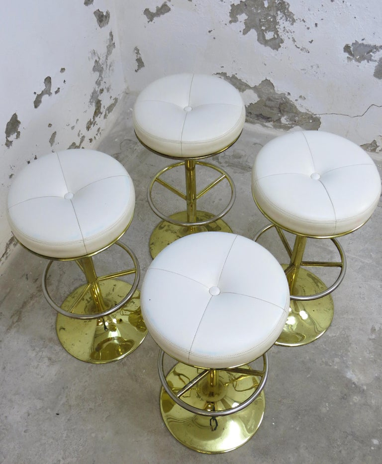 4 Börje Johansson Gilded Brass and Leather Bar Stools by Johansson Design, 1960s 4